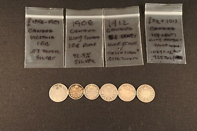 6PC Lot of 1901 to 1913 Canada Newfoundland Dimes Nickels Silver Coin 5C 10C