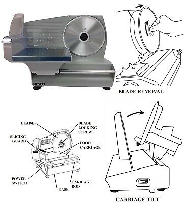 """Nesco FS250 180W Electric Commercial Meat Food Slicer 8.7"""" Blade Stainless Steel"""