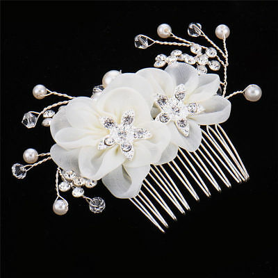 Beautiful Flower Crystal Rhinestone Bridal Tiara Wedding Hair Comb