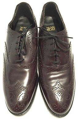 Men's Nunn Bush Burgundy Leather Wing Tip Oxford Dress Shoes-8.5M