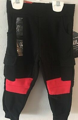 NWT Kids Baby Boys Clothes Jogger Elastic Harem Pants Toddler Trousers Black Red