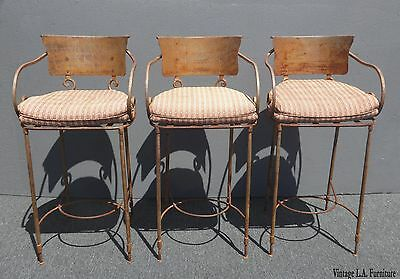 Three Vintage Rustic Spanish Style Bar Stools French Country Solid Wrought Iron