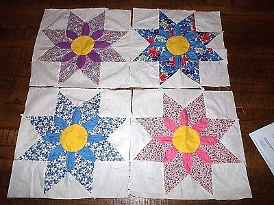 (4) Vintage 8 Point Star Quilt Squares W/flower Center-Hand Stitched - New Cond.