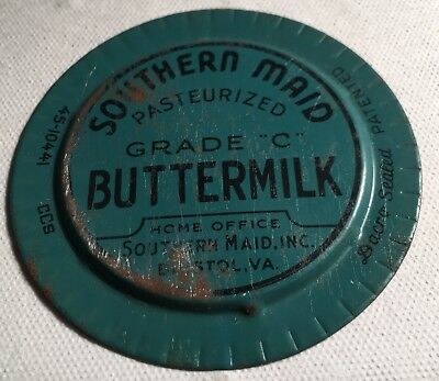 Metal MILK BOTTLE CAP ~ Southern Maid Buttermilk Bristol, Va.