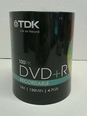 TDX ~100 Pack~ DVD+R ~ Recordable & Inscriptible ~ 16X~120MIN~4.7GB ~ NEW!
