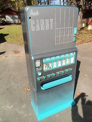Stoner Antique coin-op Candy & gum Vending Machine rare color glass