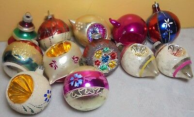 12 Vintage Antique Glass Teardrop Indent Round Ball Christmas Ornament Assorted