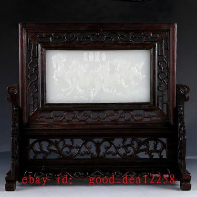 Chinese Wood Inlay Afghanistan Jade Carved Horse Screen YPF04
