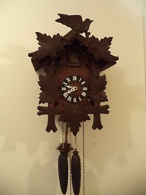 Antique Black Forest Hand Carved Cuckoo Clock 30 Hr Old Movement Working Germany