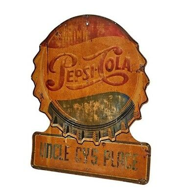 """50"""" Weathered 1960's Pepsi Bottle Cap Sign"""