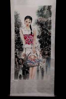 Rare Large Old Chinese Scroll Hand Painting Woman Marked ZhaoJianCheng PP964