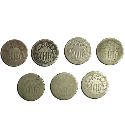 Lot of 7 -  Random Year & No Date 5 Cent Shield Nickels