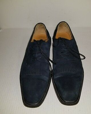 Aventura Navy Blue Suede Lace Up Oxford Men's size  9.5 Med Shoes made in Spain