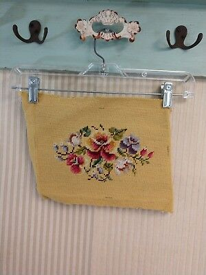 Vintage Wool Needlepoint Canvas Roses Floral on Light Mustard Background Small