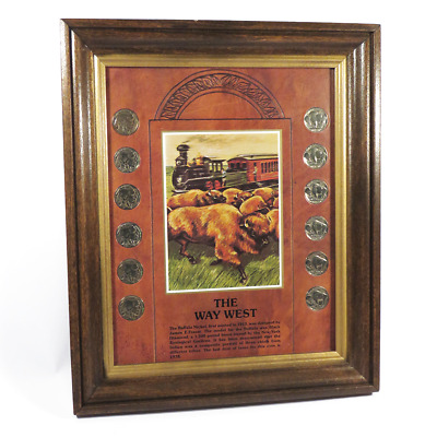 The Way West Buffalo Nickel Collection -12 Coins - Framed