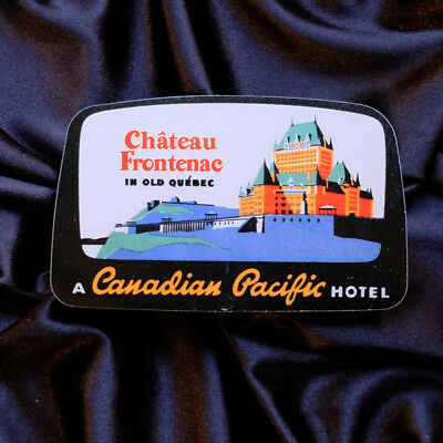 "#2350 Château Frontenac Quebec Pacific Canadian Hotel 3x2"" Luggage Label Sticker"