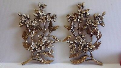 Syroco Gold White Flower Wall Hanging Plaques Set of 2 Vintage  7035 Made in USA