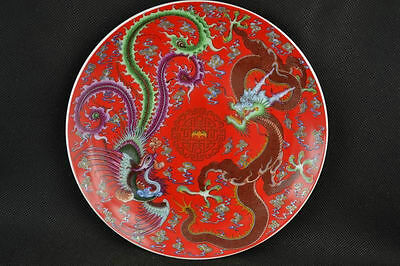 200mm Chinese Blue and Red Porcelain Plate Hand-painted Dragon