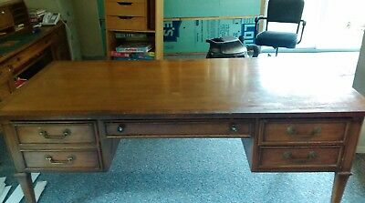 Triune by Drexel Vintage Colonial Executive desk with Credenza, and Cabinet