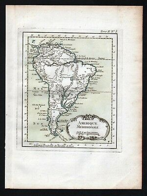1764 - South America continent Amerique Amerika Bellin handcolored antique map