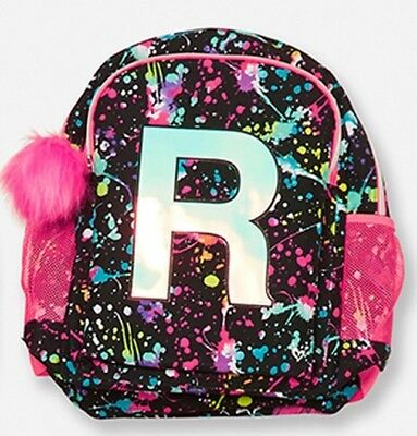 """Nwt Justice Paint Splatter Initial """"R"""" 2 Sided Backpack"""