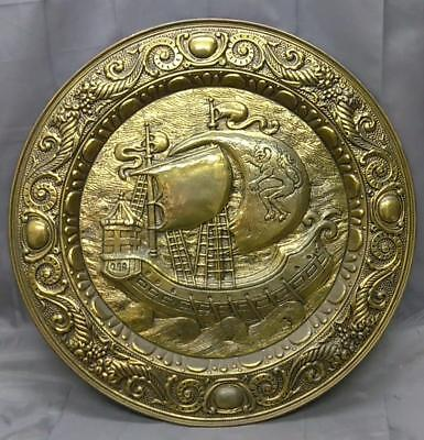 Old Antique Mission Era Bras Arts & and Crafts Nautical Ship Charger Plaque