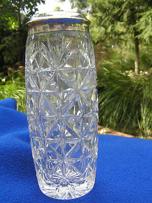 """800 silver and cut crystal glass vase 8.5"""""""