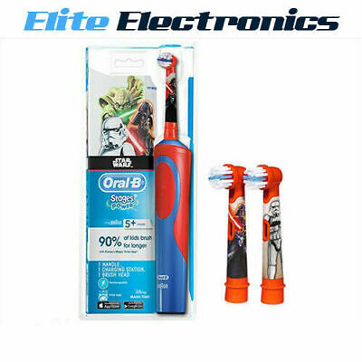 ORAL-B STAGES POWER STAR WARS 5 YR+  ELECTRIC RECHARGEABLE TOOTHBRUSH w/ 3 HEADS