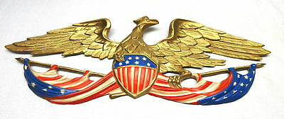 1958 Whitehall Metal Studios Wall Hanging Bald Eagle American Flag & Shield