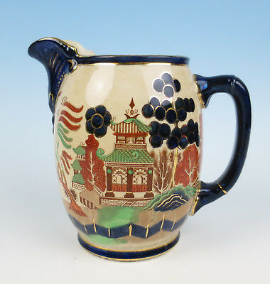 Antique Buffalo Pottery Gaudy Blue Willow Pitcher Chinoiserie Jug Chinese Cobalt
