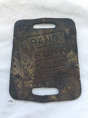 Antique Cast Iron Metal Tag GRAND TRUNK RAILWAY SYSTEM Baggage Fob