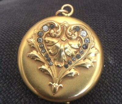 rare W&H CO. Antique Art Nouveau Gold-Filled & French Paste Crystal Heart Locket