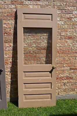 Vtg Farm House Exterior Solid Wood Door 82 inch Square Window Tall Panels Barn