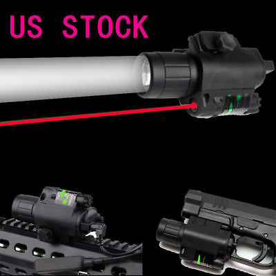 USA 2in1 Tactical CREE Q5 LED Flashlight Red Laser Sight Combo for Shotgun AR