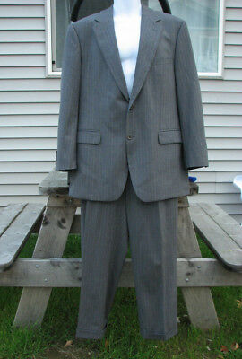 BROOKS BROTHERS 346 Stretch 42R Gray Pinstripe Wool Suit 36/29