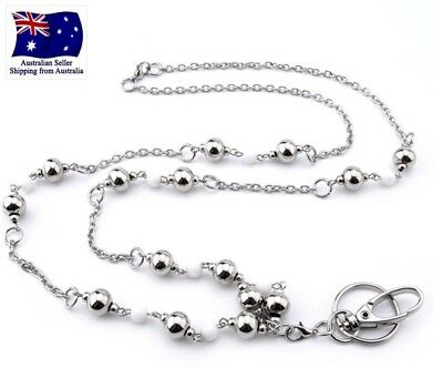 Fashionable Lanyard Necklace For Keys And ID Badge Holder With Silver Beads AUS