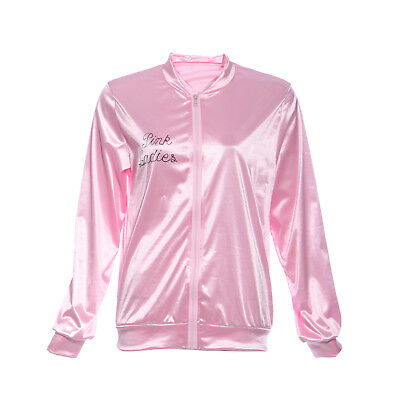 1950's Girls Satin Pink Jacket Top Shirt Costume Carnival Christmas Fancy Dress