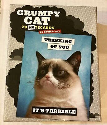 New in Sealed Box GRUMPY CAT NOTE CARDS Box of 20 Cards with 5 Different Wishes