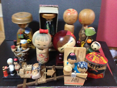 Japanese wooden vintage doll KOKESHI Sosaku  KOKESHIs lot of 12  8-15cm