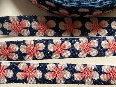 Flower print Foe (Fold over elastic) sold by 2 M - Craft - Hair etc