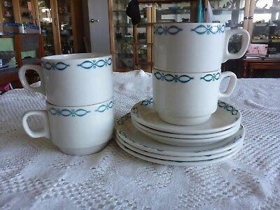 CROWN LYNN 'MAYFAIR' 3 X TRIOs + 1 EXTRA CUP GIBSONS AND PATERSON HOTEL WARE