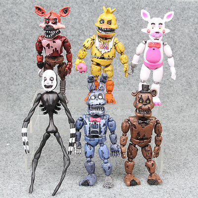 "Five Nights at Freddys Nightmare 5"" Set of 6 Action Figures Gift Collectible"