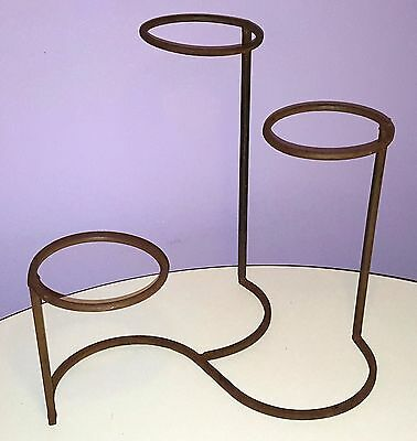 Vintage Plant Stand Wrought Iron Metal 3-Tier Hoop Pot Holder
