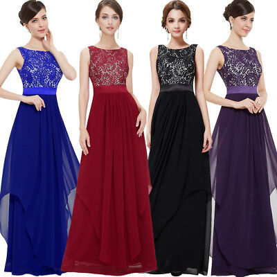 AU Womans Chiffon Lace Evening Formal Party Ball Gown Prom Bridesmaid Long Dress