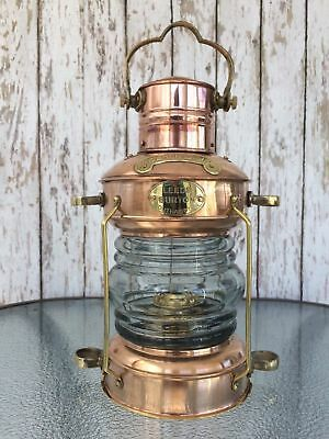 Brass & Copper Nautical Anchor Oil Lamp Maritime Ship Hanging Lantern Boat Light