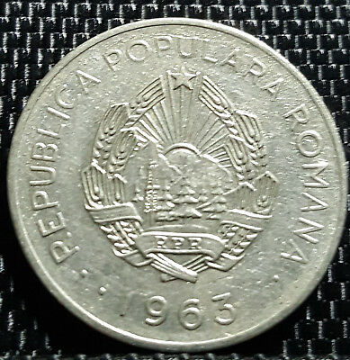 1963 Romania 3 Lei coin, VF (plus FREE 1 coin) #D1162