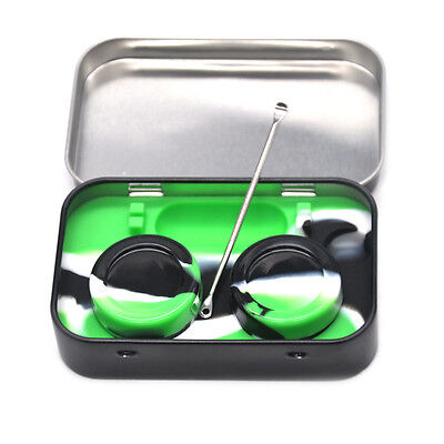 1 X Silicone Dab Container ,Stainless Steel Wax DAB Tin Dabbing Tool -THC NATION