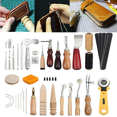 37Pcs Leather Craft Tool Kit Sewing Stitching Punch Carving Work Saddle Groover