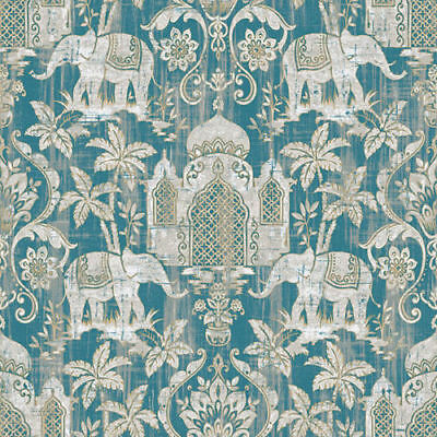 Temple Taj Mahal Elephant Palm Trees Tropical Wallpaper Paste The Wall Indo Chic