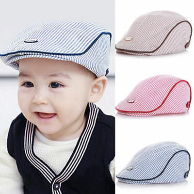 Cute Baby Kids Infant Boy Girl Stripe Beret Cap Peaked Baseball Hat Casquette